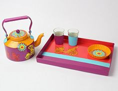 A Krazy Mug: Hand painted Tray Set (Kettle , two glasses, Tray ,Cookie Plate) - Museum Ki Sawari #Handpainted #homedecor #Trayset #Kettle #Glasses #Cookie #Plate #Tray