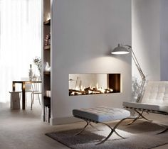 Gashaard als room devider tussen woonkamer en eetkamer.