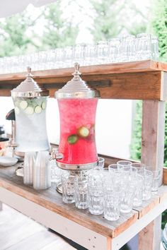 Self-Serve Drink Stand    Keep guests refreshed and hydrated with a drink station. Whether you choose to provide fruit-infused water or a summery punch, they'll love being able to grab a glass before and after the ceremony.
