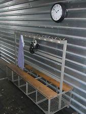 RETRO SCHOOL GYMNASIUM BENCH BASKET STORAGE VINTAGE COAT HANGER
