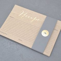 Pack Of 10 Hand Pressed Foil Recipe Cards