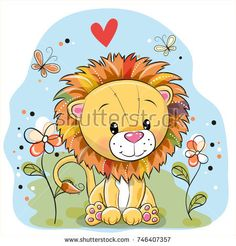 Cute Cartoon Lion with flowers and butterflies on a meadow