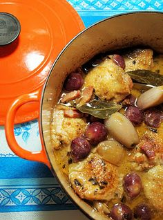 Le Creuset Guest Recipe Post ~ Chicken with Black Grapes and Marsala Sauce