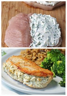 Cream Cheese and Herb Stuffed Chicken - Emily Bites Easy Chicken Dinner Recipes, Dinner Recipes For Kids, Healthy Chicken Recipes, Cooking Recipes, Easy Healthy Dinners, Quick Easy Meals, Low Fat Vegetarian Recipes, Carne, Food