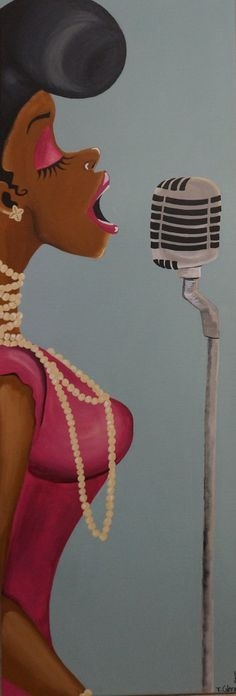Black Art/ African American Art The Audition 12x36 by ArtbyTiffani