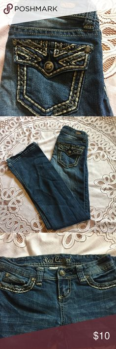 Red Camel Embellished Jeans Dark wash boot cut. Small amount of thread fraying on pocket. (Shown in picture) Red Camel Jeans Boot Cut