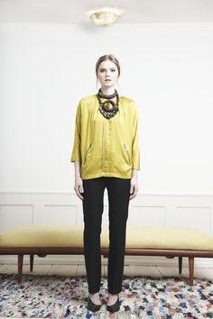 Rützou black trousers and mustard misty silk blouse