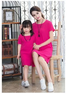 010735873878 Girls Loose Casual Linen Dress Summer Mother and Daughter Matching Outfits