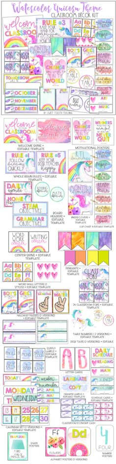 Who doesn't love watercolor unicorns? This classroom decor bundle includes over 300 pages of classroom essentials decorations binder covers motivational posters etc. Classroom Hacks, Classroom Decor Themes, Classroom Setting, Classroom Organization, Math Stem, Daily Math, Middle School Classroom, Binder Covers, Motivational Posters