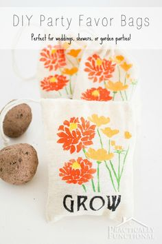 Make your own custom party favor bags by stenciling little fabric bags! These ones are perfect for garden parties, weddings, or showers if you put seed bombs in them!