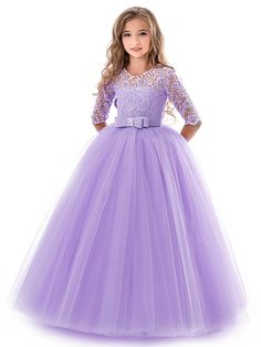 Kids Little Girls' Dress Solid Colored Flower Wedding Party Evening Hollow Out White Blue Purple Lace Tulle Maxi Short Sleeve Flower Vintage Gowns Dresses 3-13 Years 2021 - US $23.09 Flower Girl Dresses Boho, Wedding Dresses For Girls, Princess Wedding Dresses, Wedding Party Dresses, Girls Dresses, Ball Gown Dresses, Pageant Dresses, Prom Gowns, Glitz Pageant