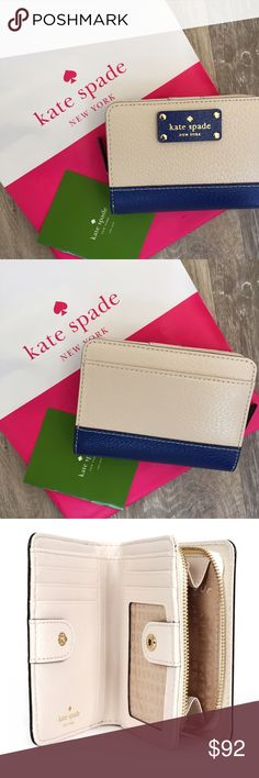 "KATE SPADE CARA WELLESLEY WALLET 100% Authentic Kate Spade Cara Wellesley Wallet. Leather, signature woven fabric lining, snap and zip closure. Color: Pble/ Hyacinth.1 slip pocket on back, 4 card slots, ID window, 4 slip pockets, and 1 compartment for bills. Approximate measurements: 3.5"" H x 5"" L x 1"" D. NWT. No trades and a smoke free home. For more KP beauties, please visit my friend Molinda's closet, @molinda25 Thanks for stopping by @treasuresbytrac  kate spade Bags Wallets"