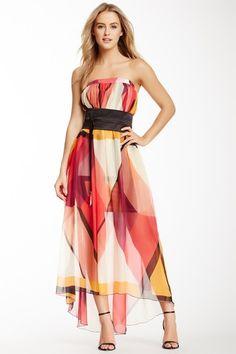 Analili Strapless Printed Silk Overlay Maxi Dress on HauteLook