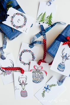 Free printable Christmas tags you can color and customize along with free printable cards to add a personal touch to the gifts and greetings.
