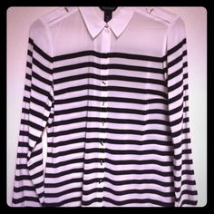 White House | Black Market silk blouse Like new button down elegant silk blouse with black stripes. White House Black Market Tops Blouses