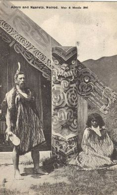 My great, great, great Grandfather Outside Hinemihi, Chief Aporo and his wife Ngareta, Te Wairoa. Photo by Muir & Murdoch Polynesian People, Polynesian Art, Polynesian Culture, Tonga, Tahiti, Nz History, Maori People, Maori Designs, New Zealand Art