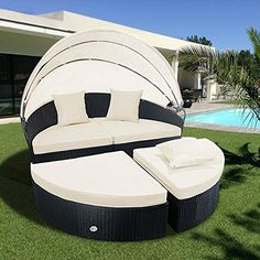 Cloud Mountain Outdoor Furniture 4 Piece Wicker Rattan Round Outdoor Daybed Sectional Sofa Retractable Comfortable Modern Style Easy Assembly Patio Lawn Garden Backyard Pool Balcony with Canopy (Black Canopy Over Bed, Daybed Canopy, Patio Daybed, Hotel Canopy, Outdoor Daybed, Canopy Curtains, Canopy Bedroom, Diy Canopy, Patio Seating