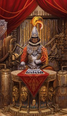 King of Swords (revised), painted by Alex Boca for the Tarot of Brass & Steam.