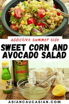 Be Warned: This easy summer salad is very addictive! Make sure to make a huge batch for the entire week! This bright and delicious Sweet Corn and Avocado Salad has so much flavor from the lemony Yuzu vinaigrette. It's the perfect summer picnic salad. Now, this is summer side dish magic perfect for cookouts, potlucks, or any summer festivity! Summer Picnic Salads, Easy Summer Salads, Asian Dinner Recipes, Asian Recipes, Ethnic Recipes, Corn Avocado Salad, Salads To Go, Summer Side Dishes, Potlucks