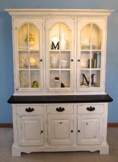 Keller Hutch Painted In Annie Sloan Old White And Stained With General Finishes Java Gel Stain