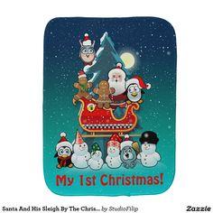 Santa And His Sleigh By The Christmas Tree Baby Burp Cloth