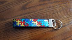 Handcrafted Autism Awareness Key Chain Wristlet NEW Free Shipping