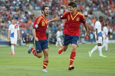 #Isco# #Morata# #Rojita# Spain during the UEFA European U21 Championships Group B match between Spain and Netherlands at Ha Moshava Stadium on June 12, 2013 in Petah Tiqwa, Israel.
