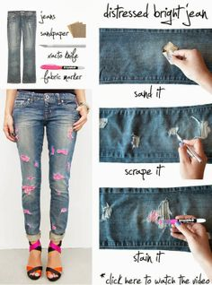 Diy : Distressed Brignt Jeans