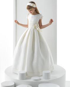 Nectarean Ball Gown Short Sleeve Bow(s) Floor-length Satin Communion Dresses_1