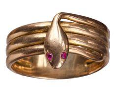 1900s Rose Gold Snake Ring