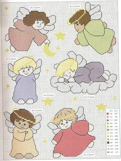 Tudo em ponto cruz, gráficos novos toda semana!!!!!!!: Anjos para seu bebê dormir tranquílo...