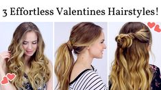 Easy Hairstyles For Long Hair Night Out Wedding - 3 effortless date night hairstyles! Valentine's Day Hairstyles, Sweet Hairstyles, Cute Girls Hairstyles, Easy Hairstyles For Long Hair, Modern Hairstyles, Pretty Hairstyles, Kayley Melissa, Date Night Hair, Medium Hair Styles
