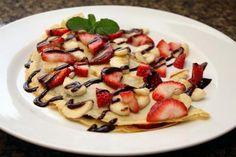 Crepe, dessert, French, chocolate, strawberries, bananas