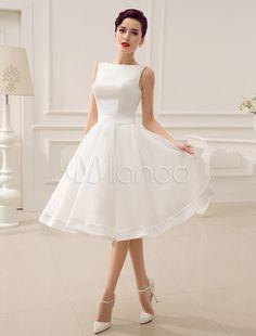 Cut Out Backless Satin Short Wedding Dress with Bow Decor Sash - Milanoo.com