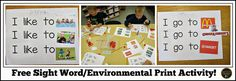FREE Sight Word/Environmental Print Activity