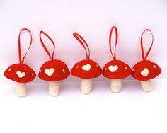 needle felted toadstools from Fairyfolk