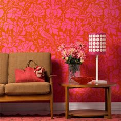 Flowers and bird damask wall stencil from Royal Design Studio on wall. Gorgeous!