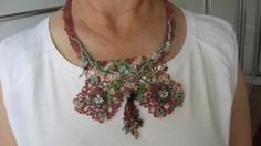 Cinnamon crochet needlelace beaded necklacecross by CiciByMuy, $40.00
