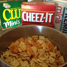 Spicy Ranch Red Pepper Cracker Mix: Mix 1 cup canola oil, 1 pkg dry ranch dressing, and 3T crushed red pepper in a large bowl or container that has a lid. Add in Mini Saltines, Mini Clubs, and Cheez-Its (about 3/4 box of each kind), then stir crackers, put lid on container and shake mixture. They will be ready to eat after 2 hrs. Store in airtight container.
