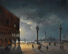 Artwork by Carlo Grubacs, Piazza San Marco in the evening light, Made of oil on canvas