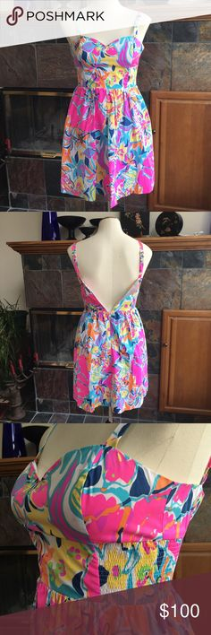 """Lilly Christine Multi Besame Mucho Poplin Dress Size 0 Zipper works, just doesn't fit my mannequin No signs of wear Christine fit and flare dress Multi color print multi besame mucho poplin  Length: 31"""" Bust: 15"""" Waist: 12-14.5"""" Lilly Pulitzer Dresses Mini"""