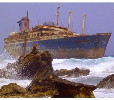 The abandoned wreckage of the American Star (SS America), Fuerteventura, Canary Islands. Photo by Wollex -