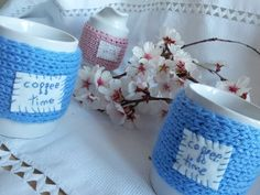 very hot cup covered with a wool cloth
