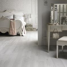 Design Ideas, : Enchanting Bedroom Flooring And Interior Decoration With Grey Amtico Floor Tiles Along With White Queen Anne Bed Legs And Curve White Wood Headboards