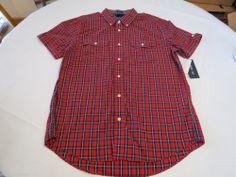 Mens Tommy Hilfiger L short sleeve shirt Slim Fit 7845237 Regal Red Mult 638