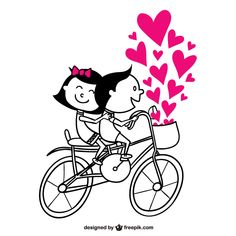 Romantic Couple Riding a Bicycle with Pink Heart Vector Cute Couple Drawings, Cute Drawings, Happy Birthday Love Quotes, Couple Clipart, Creative Wall Painting, Couple Mugs, Stick Figures, Romantic Couples, New Pins