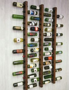 Wine rack 16 bottle ladders set of 3 # bottle ladders # wine .- Weinregal 16 Flaschenleitern Set Wine rack 16 bottle ladders set of 3 shelf - Wine Storage, Garage Storage, Kitchen Storage, Storage Racks, Diy Garage, Rough Wood, Small Space Storage, Tuscan Design, Creative Storage