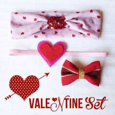 Jersey Knit Valentine Baby Girl Headband & Clip Set - Hearts - Valentines Day - red - pink - sequins - gold -jersey -bow -baby toddler adult on Etsy, $24.95