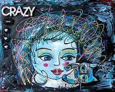 Folk Art CRAZY LOVE CAT Kitty Girl LADY FUN Whimsical ORIGINAL Painting _LORALAI