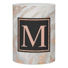 #modern - #Modern Faux Rose Gold Marble Swirl Monogram Flameless Candle